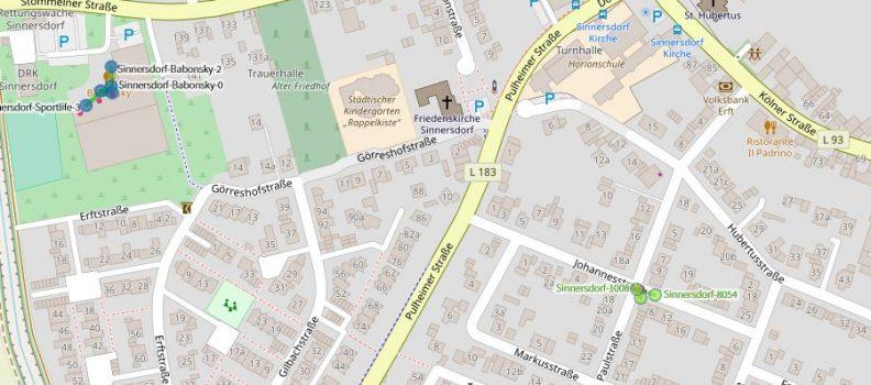 Freifunk Sinnersdorf, Karte/Map vom 02.10.2018